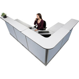 "L-Shaped Electric Reception Station, 116""W x 80""D x 46""H, Gray Counter, Blue Panel"
