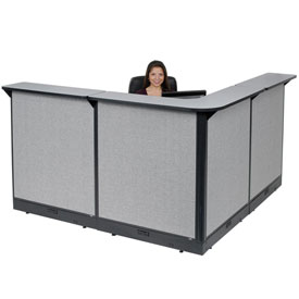 "L-Shaped Electric Reception Station, 80""W x 80""D x 46""H, Gray Counter, Gray Panel"