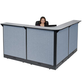 "Interion™ L-Shaped Electric Reception Station, 80""W x 80""D x 46""H, Gray Counter, Blue Panel"