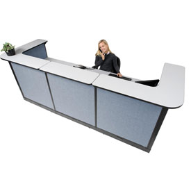 "U-Shaped Electric Reception Station, 124""W x 44""D x 46""H, Gray Counter, Blue Panel"