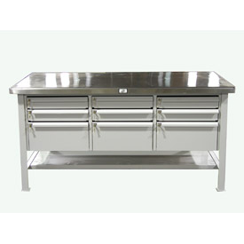 Shop Table with Key-Lock Drawers and Stainless Steel Top