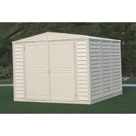 "DuraMate Vinyl Outdoor Storage Shed 00384, 7'10""W X 7'10""D X 6'1""H, Includes Foundation"