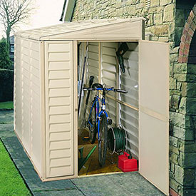 "SideMate Vinyl Outdoor Storage Shed 06625, 3'11""W X 7'10""D X 6'1""H, Includes Foundation"