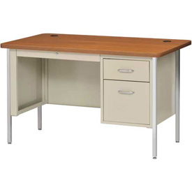 "Sandusky 48"" x 30"" Single Pedestal Teacher Steel Desk Putty/Medium Oak Top"