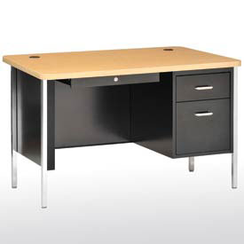 "Sandusky 60"" x 30"" Single Pedestal Teacher Steel Desk Black/Maple Top"
