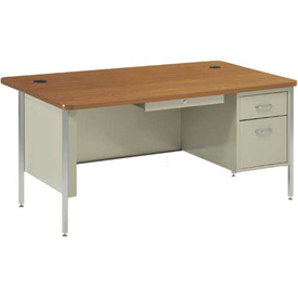 "Sandusky Single Pedestal Teacher Steel Desk - 60"" x 30"" - Putty/Medium Oak Top"