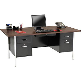 "Sandusky 72"" x 36"" Double Pedestal Steel Desk with Center Drawer Black/Walnut Top"