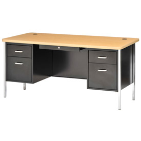 "Sandusky Double Pedestal Teacher Steel Desk - 60"" x 30"" - Black/Maple Top"