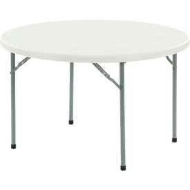 "Round Plastic Folding Table - 48"" - White"