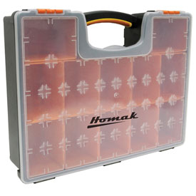 "Homak HA01112425 Plastic Organizer With 12 Removable Bins 16-1/2""L x 13""W x 4-1/4""H - Pkg Qty 10"