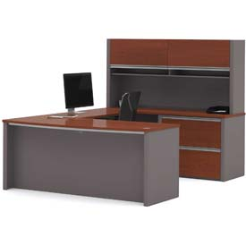 "Bestar® U Desk with Hutch & Lateral - 71"" - Bordeaux & Slate - Connexion Series"