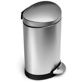 simplehuman® Mini Semi Round Step Can - 1-3/5 Gallon Brushed SS
