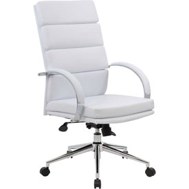 Boss Executive Office Chair with Arms - Vinyl - High Back - White