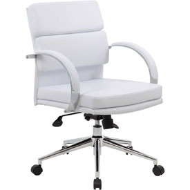 Boss Executive Office Chair with Arms - Vinyl - Mid Back - White