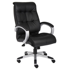 Boss Double Plush Executive Office Chair - Leather - High Back - Black