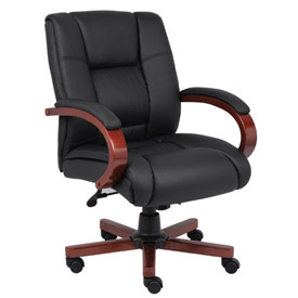 Boss Executive Office Chair with Arms - Mid Back - Black