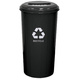 Round Steel Black Recycling Container with Paper Slot Lid - 20 Gallon Capacity