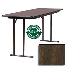"Training-Seminar Table, Off-Set Folding Leg, 24""x 96"", Walnut Top"