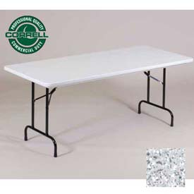 "Correll Folding Table - Blow Molded - 24"" x 48"", Gray Granite"