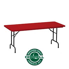 "Correll Folding Table - Blow Molded - 24"" x 48"", Red"