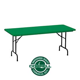 "Correll Folding Table - Blow Molded - 24"" x 48"", Green"