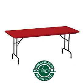 "Correll Folding Table - Blow Molded - 30"" x 72"", Red"
