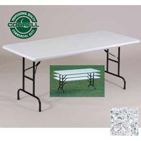 "Blow-Molded Commercial Duty Adjustable Ht. Folding Table 30"" x 72"", Gray Granite"