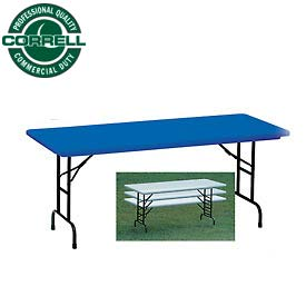 "Blow-Molded Commercial Duty Adjustable Height Folding Table 30"" x 72"", Blue"