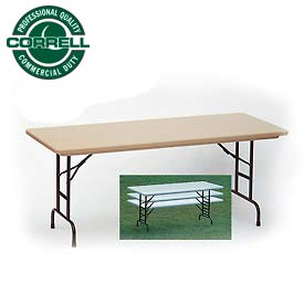 "Correll Adjustable Height Folding Table - Blow Molded - 30"" x 60"" Mocha Granite"