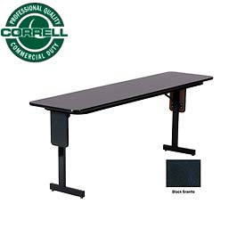 "Correll Folding Seminar Table - 18"" x 96"" - Black Granite"