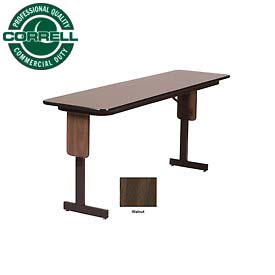"Correll Folding Seminar Table - 18"" x 96"" - Walnut"