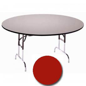 """3/4"""" High Pressure Laminated Adj. Height Folding Table, 60"""" Dia., Red"""
