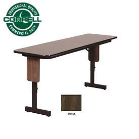 "Training - Panel Leg, Adjustable Height Folding Table. 24""x72"" Walnut Top"