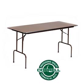 """Correll Folding Table - Counter Height - 5/8"""" Laminate Top - 30"""" x 72"""" x 36""""H - Walnut"""