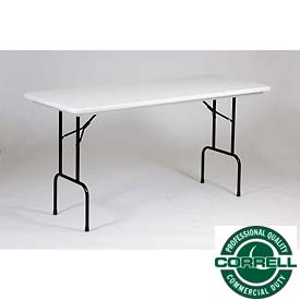 "Counter-Standing 36"" Height Folding Table, Blow Molded 30""x72"" Gray Granite Top"