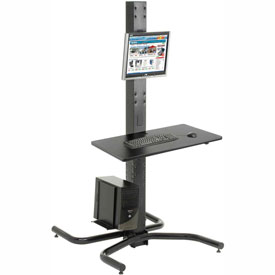 "81""H Freestanding Orbit Computer Station With Vesa LCD Mount - Black"