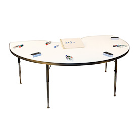 "Whiteboard Activity Table 48"" X 96"" Kidney, Juvenile Adjustable Height"
