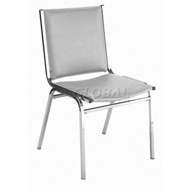 "KFI Stack Chair - Armless - Vinyl - 1"" thick Seat Light Gray Vinyl"