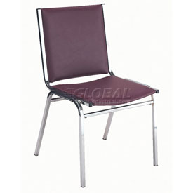 "Durable Multi-Purpose Armless Stack Chair - 1"" thick Seat Burgundy Vinyl"