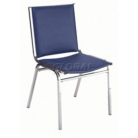 "KFI Stack Chair - Armless - Vinyl - 1"" thick Seat Navy Vinyl"