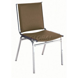 """Durable Multi-Purpose Armless Stack Chair - 1"""" thick Seat Brown Vinyl"""