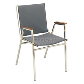 "KFI Stack Chair With Arms - Fabric -1"" thick Seat Gray Fabric"