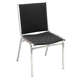 "KFI Stack Chair - Armless - Fabric - 1"" thick Seat Black Fabric"