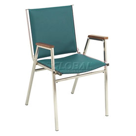 "KFI Stack Chair With Arms - Vinyl -1"" thick Seat Forest Vinyl"