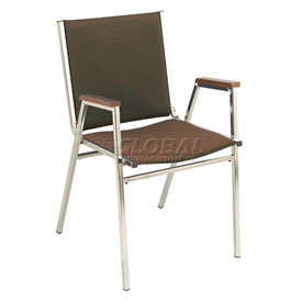 "KFI Stack Chair With Arms - Fabric -1"" thick Seat Brown Fabric"