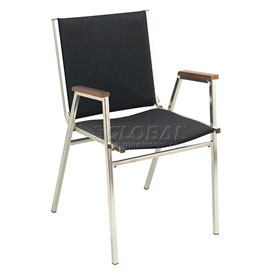"KFI Stack Chair With Arms - Fabric -1"" thick Seat Black Fabric"