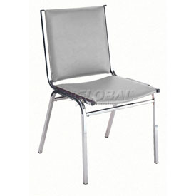 "KFI Stack Chair - Armless - Vinyl - 2"" thick Seat Light Gray Vinyl"