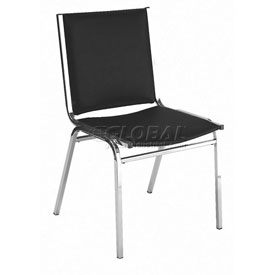 "KFI Stack Chair - Armless - Vinyl - 2"" thick Seat Black Vinyl"