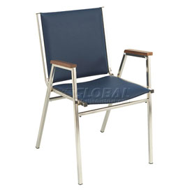 "KFI Stack Chair With Arms - Vinyl -2"" thick Seat Navy Vinyl"
