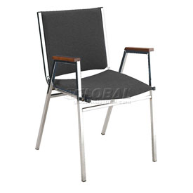 "KFI Stack Chair With Arms - Vinyl -2"" thick Seat Black Vinyl"